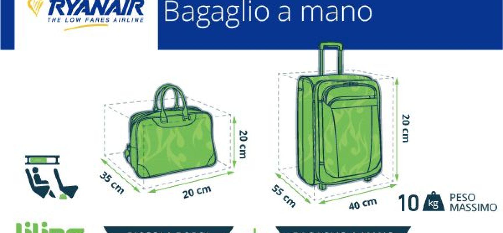 Ryanair niente più trolley a bordo