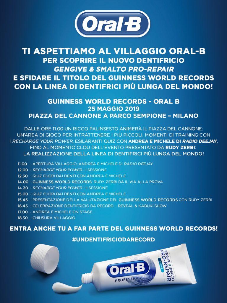 ORAL-B presenta Gengive & Smalto PRO-REPAIR e sfida il Guinness World Records parco sempione piazza del cannone milano YOUparti