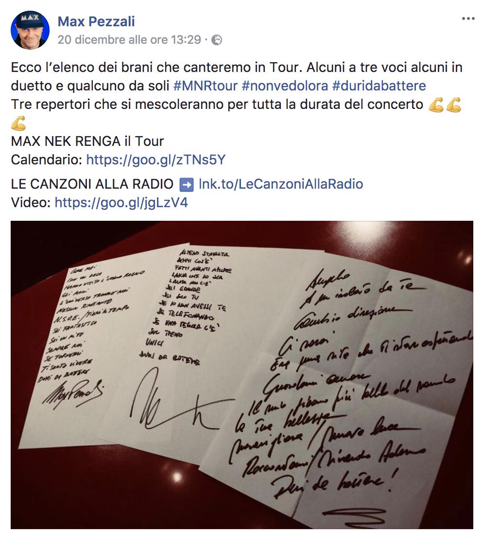 Nek Max Renga tour scaletta