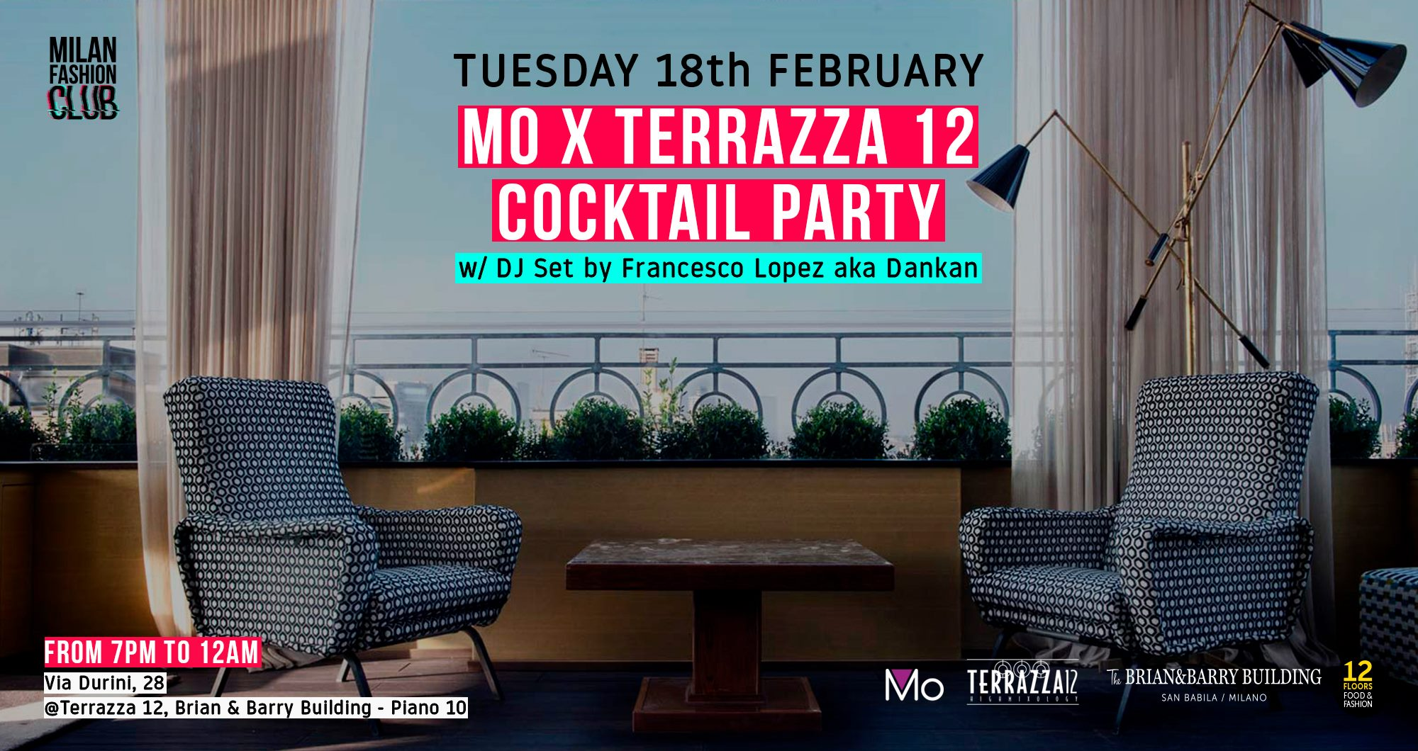 MO x TERRAZZA 12 COCKTAIL PARTY | Milan Fashion Week YOUparti