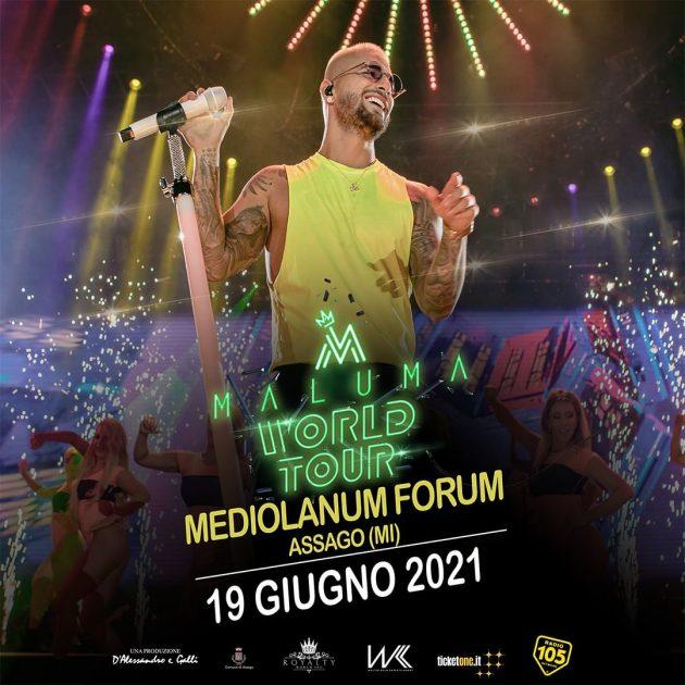 Maluma a Milano mediolanum forum assago YOUparti